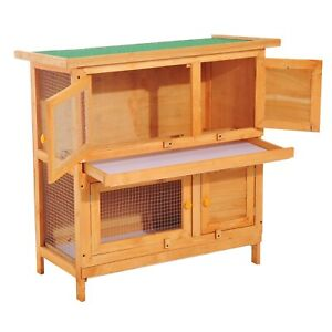 Small Pet Hutch Yellow Green Enclosure 2-Story Wooden Rabbit Guinea Pig House