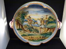 "Antique Italian Majolica Centerpiece Bowl Circa 1890 Large 17"" Handles Dragon"