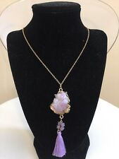 NWOT Purple Drusy Druzy Drop And Tassel Gold Chain Long Necklace Anthropologie