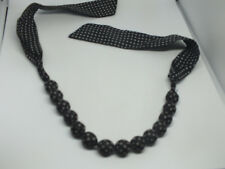 """Beautiful Necklace Choker Cloth Wrapped Beads Black White Polka Dot 22"""" - Tie"""