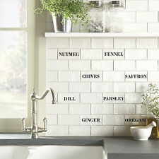 Tile Transfers stickers Herbs Spices 150MM X 75MM BRICK TILES Pack of 8 kitchen