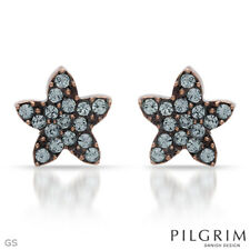 Brown Star Earrings with Baby Blue Crystals from Pilgrim Skandeborg Denmark