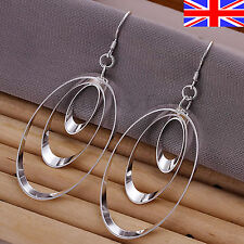 Silver 925 Sterling Earrings Shiny Oval Loop Dangle Drop Free Gift Bag