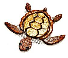 Mosaiksteine-Schildkröte-Turtle-gold/kupfer-Grösse:17x15cm-handgefertigt-2.WAHL!