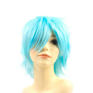 Hot Unisex Cosplay Anime Short Wig Straight Unisex Full Wigs Halloween Synthetic