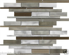 Grey Brown Brushed Aluminum & Polished Glass Mosaic Backsplash Tiles-11 Sheets