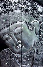 Unusual Hand Carved Large Buddha Wall Plaque Silver Black Stunning Buddha Art