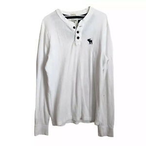Abercrombie & Fitch Men's Muscle Fit Pullover Henley Sweatshirt Size 2XL White