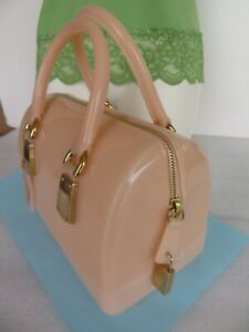Furla Candy Bag ~ Authentic Beige Satchel Small Tote Purse Logo~ Italy Excellent