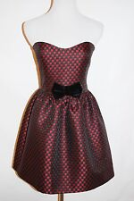 RED VALENTINO BURGUNDY BLACK VELOUR BOW WOMEN COCKTAIL DRESS SIZE SMALL 40