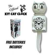 "WHITE LADY KIT CAT CLOCK 15.5"" Free Battery MADE IN USA Official Kit-Cat Klock"