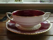 Beautiful.double handed SOUP BOWL & PLATE..Red/gold.,...ROYAL WORCESTER.,