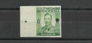 Southern Rhodesia 10/ Revenue Proof Imperf KGVI marg. printers mark & punch hole