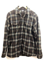 Eddie Bauer Button Up Shirt Mens Medium Brown Plaid Long Sleeve Polyester Euc