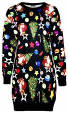 New Womens Santa Xmas Gift Bag Merry Christmas Thermal Pullover Jumper Top 8-22