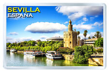 SEVILLA SPAIN GOLD TOWER FRIDGE MAGNET SOUVENIR IMAN NEVERA