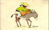 Mexico Tipico Donkey Art Two Cards Vintage Postcard AU1