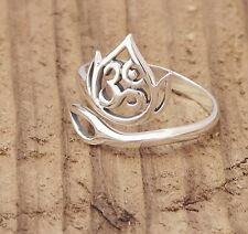 Sterling Silver Lotus Flower and Ohm Openwork Ring Yoga Mantra Spiritual Boxed
