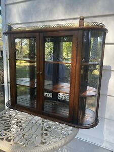 Vintage BUTLER 2 Door Wall Hanging Curio Cabinet Mirrored Curved Glass 3 Shelves
