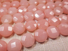 """10mm Faceted Coin Shape Pink Jade 15""""-16"""" Inches Stones Beads @^"""