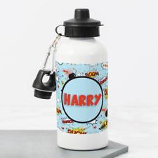 Personalised Superhero Comic Boys 400ml Kids Children's Water Drinks Bottle