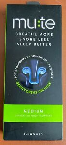 Rhinomed Mute Breath more Snore Less Sleep Better MEDIUM 3 PACK (30 NIGHTS) BNIB