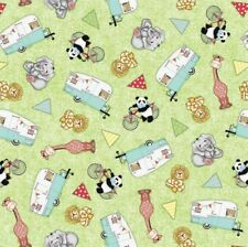 Bazooples Campout Toss Campers Animals Camping Cotton Fabric Fat Quarter