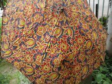 Antique Vintage Navy Blue Umbrella Parasol Yellow Red Wood Handle Flower