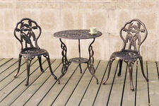 Elegant Style Patio Or Deck 3Pc Bistro Set Round Table Chair Outdoor Furniture