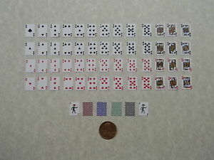 Miniature Playing Cards, 1:6 Play Scale, with Black Backings