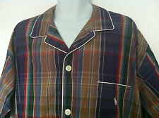 Polo Ralph Lauren Sleepwear Shirt Plaid Purple Beige Red White Trim Size M NWT