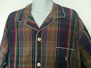 Polo Ralph Lauren Sleepwear Shirt Plaid Purple Beige Red White Trim Size M NWT