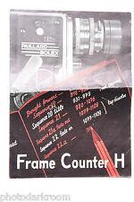 Bolex Frame Counter H Sales Flyer Brochure - English - Used B14