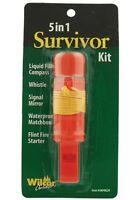5-in-1 Survivor Survival Hiking Kit - Compass, Mirror, Whistle, Flint, Matchbox