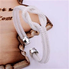 WHOLESALE WOMEN 925SOLID SILVER Jewelry Noble Knot Xmas Gift Bangle Bracelet