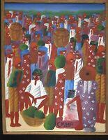 LAURENT CASIMIR HAITIAN ARTIST PAINTING ON CANVAS FRAMED HAITI 1928-1990