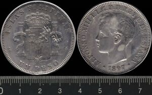 Philippines: 1897 One Peso King Alfonso XIII silver Un Peso