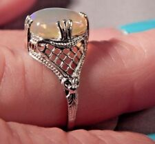 2.54ct. Cushion Opal Filigree Sterling Silver Ring Free Sizing