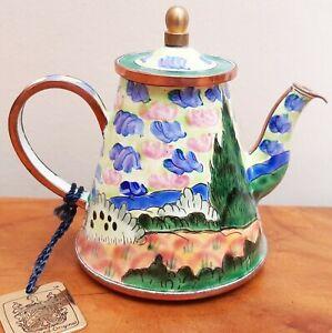 Charlotte Di Vita  Enamel Teapot Van Goch Wheatfield with Cypresses