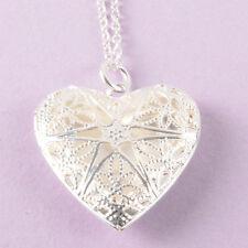 Kette  925 Sterling Silber plattiert Damen Schmuck Halskette Herz Medaillon Neu