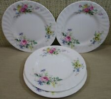 "4X Royal Doulton ""Arcadia"" Set 4 Bread Butter Plates Flowers Scalloped Border B1"