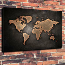 """Vintage Retro Style World Map Printed Box Canvas Picture A1.30""""x20"""" 30mm Deep"""