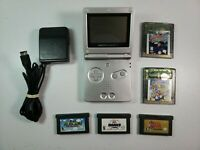 Nintendo GameBoy Advance SP AGS-001 Silver + 5 Games & Charger TESTED WORKING