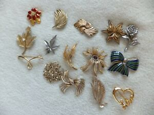Vintage Costume Jewelry Brooches Job Lot