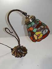 Lampada da tavolo in ottone brunito con vetro Tiffany abat-jour CONSEGNA 24 ORE