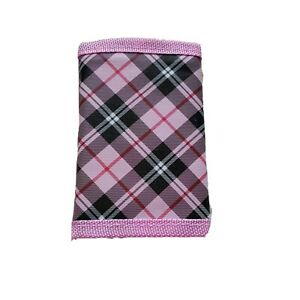 Checkered Trifold Women's Wallet Pink Black Cash Identification Business Cards