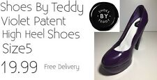Ladies High Heel Shoes Size5 Violet Patent Shoes By Teddy New