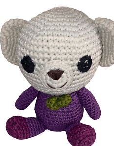 Handmade Crochet White /pink Teddy Bear Stuffed Animal Toy