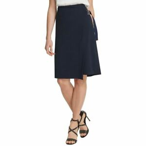 DKNY NEW Women's Solid Faux-wrap Asymetrical Skirt TEDO