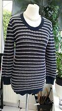 JACK WILLS Navy & White Striped Jumper Sweater Size 8 10, Cotton RN 130498